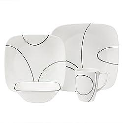 Corelle Square Simple Lines Square 16-piece Dinnerware Set, Service For 4, Blackwhite
