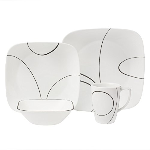 Corelle Square Simple Lines Square 16-Piece Dinnerware Set, Service for 4, Black/White
