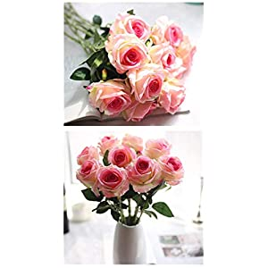 Cinxy Artificial Flowers Long Stem Silk Rose Flower Bouquet Wedding Party Home Decor, Pack of 6 (White) 3