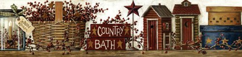 Country Bath Wall Paper Border Outhose Barn Star Baskets Primitive Home Décor (Wallpaper Primitive Border)