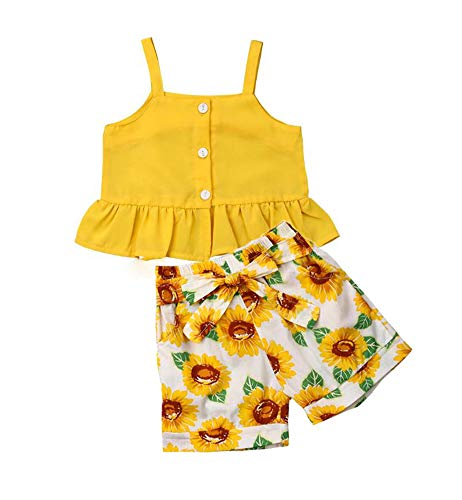 (Toddler Girl Sleeveless Outfits Miss Sassy Pants Floral Shorts Set Clothes (110(3-4T), Z-Yellow))