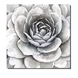 neutral living room decor 3Hdeko - Large Flower Pictures Wall Art Gray White Floral Painting Modern Wall Decor for Home Living Room Teen Girl Bedroom Bathroom Office Geometric Symmetry Canvas Artwork -30x30inch- Ready to Hang