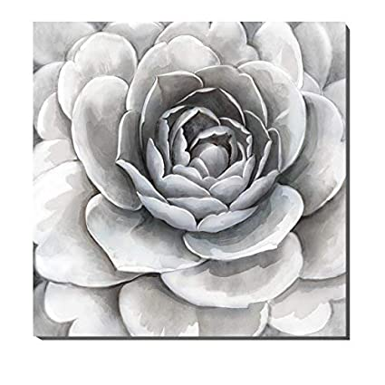 3hdeko Large Flower Pictures Wall Art Gray White Floral Painting Modern Canvas Wall Decor For Living Room Bathroom Teen Girl Bedroom Ready To Hang