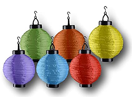 Solar Led Garten Party Lichter Laterne 6 Bunte Lampen Kabellos 20cm