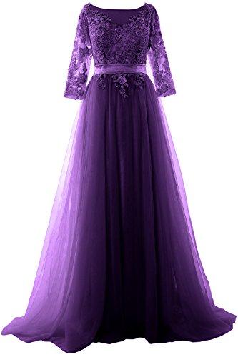 MACloth Elegant Half Sleeve Prom Dress Lace Tulle Maxi Evening ...