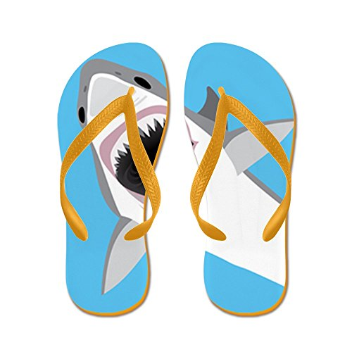 Cafepress Great White Shark Salta Del Agua - Chanclas, Sandalias Thong Divertidas, Sandalias De Playa Naranja