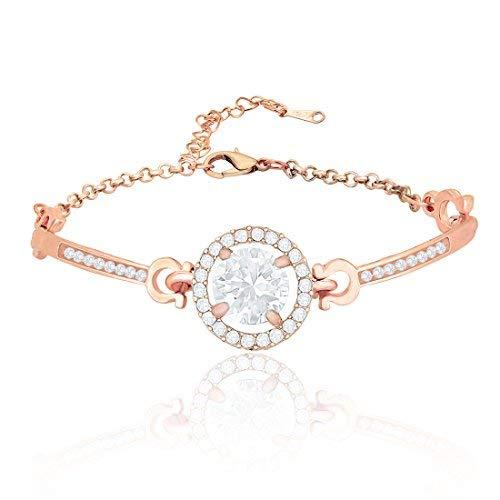 Nakabh White Clear Austrian Crystal Rose Gold Plated Alloy Elegant Bracelet Kada for Women