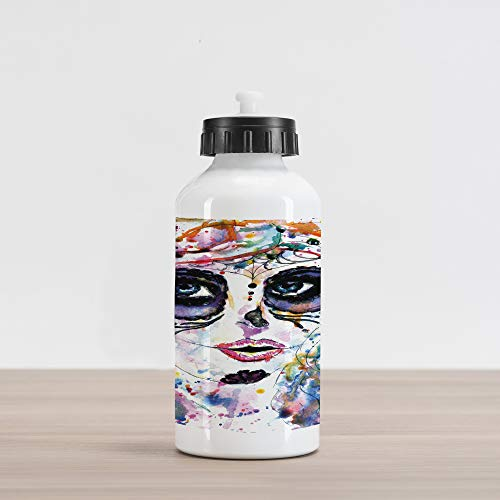 Ambesonne Sugar Skull Aluminum Water Bottle, Halloween Girl with Sugar Skull Makeup Watercolor Painting Style Creepy Look, Aluminum Insulated Spill-Proof Travel Sports Water Bottle, -