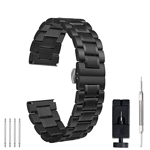 22mm 20mm Watch Band, PluWatch Quick Release Premium Solid Stainless Steel Metal Business Replacement Bracelet Strap for Men's Women's Watch