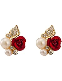 QZ Classic Gold Plated Women Red Rose Pearl Earring HJ-0038