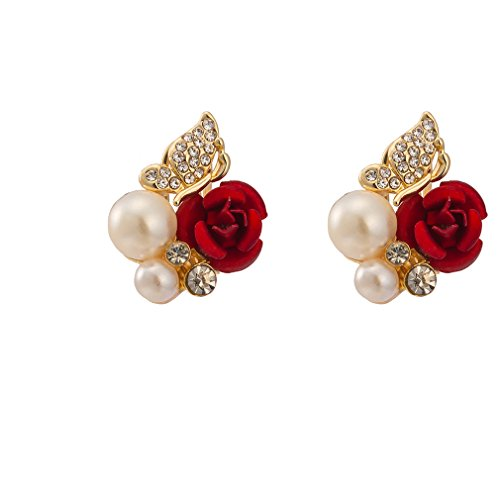 (QZ Classic Gold Plated Women Red Rose Pearl Earring HJ-0038)