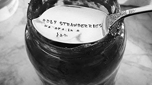 Holy Strawberries We Are In a Jam Spreader Food Pun Engraved Spreader Hostess Gift