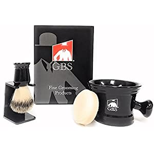 Men's Grooming Set with Shaving Soap Bowl/Mug Knob Handle, 100% Synthetic (Animal Free) 5th generation Brush, Brush Stand and 97% All Natural Shave Soap compliments any razor