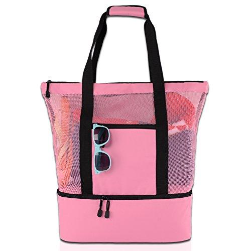 ROTANET Mesh Beach Tote Bag-Large Cooler Beach Bag with Zipper (Pink)