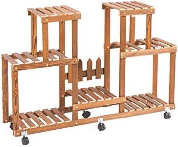 Estante para estantes macetas Estante para macetas Rack de almacenamiento Escalera de exhibición Soporte de flores Estante de madera para interiores y exteriores con ruedas Tamaño 110x70x24 Cm: Amazon.es: Hogar