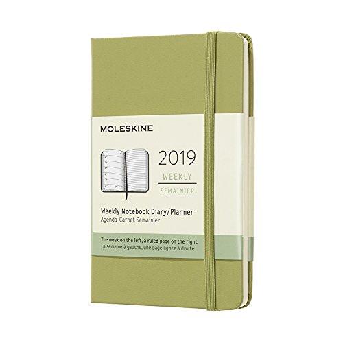 Moleskine 2019 - Cuaderno semanal de 12 m, bolsillo semanal, cuaderno semanal, cubierta dura verde (3,5 x 5,5)