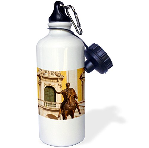 3dRose wb_208021_1''Marcus Aurelius statue in the Piazza Campidoglio, Rome, Italy'' Sports Water Bottle, 21 oz, Multicolor by 3dRose