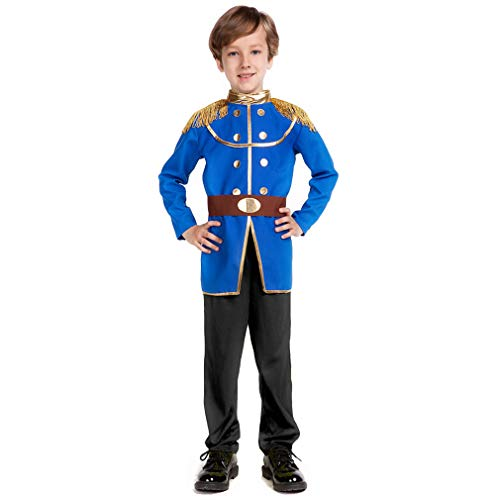 Boy's Prince Charming Costume-Kids Halloween Christmas Party Cosplay Prince Costumes with Belt (M) ()