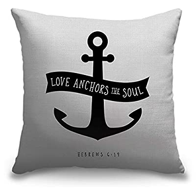 "CANVAS ON DEMAND Inner Circle 18""x18"" Outdoor Polyester Throw Pillow - Hebrews 6:19 - Scripture Art in Black and White: Kitchen & Dining"