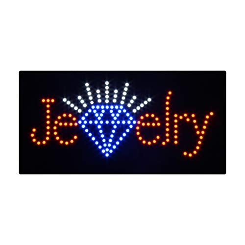 (LED Jewelry Open Light Sign Board Super Bright Electric Advertising Display Board Banner for Jeweler Watch Business Retail Shop Store Window 19 x 10 inches)
