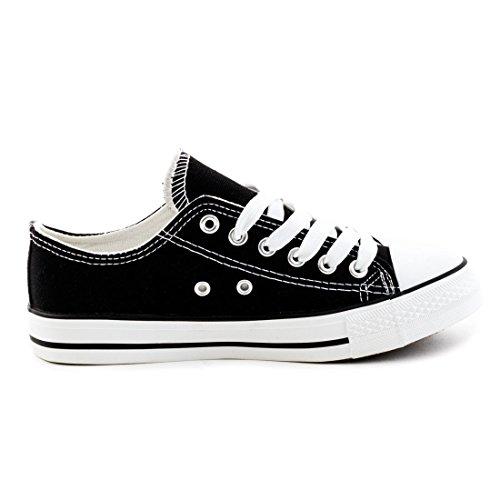 ... Trendige Unisex Damen Kinder Herren Schnür Sneaker Low Top Schuhe  Canvas Textil Schwarz/Weiß