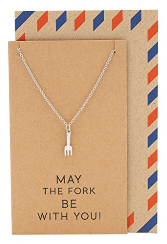 Well Get Charm (Quan Jewelry Birthday Gifts Fork Charm Necklace for Women, with Get Well and Good Luck Card, Gifts for Chefs)