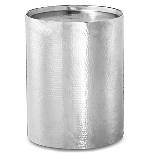 Cylinder Drum Accent Table Silver (Drum Tables)