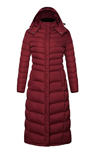 ELORA Women's winter heavy quilt jacket fleece-Trim Hooded Full Length puffer Coat Plus Size 3X Red