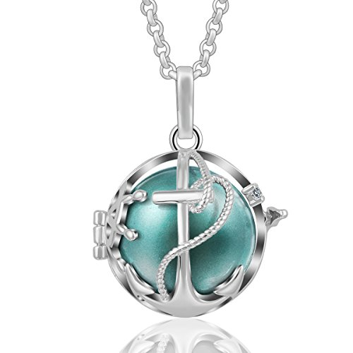AEONSLOVE Crystal Anchor Pendant Necklace Silver Harmony Bola Chime Bell Seagreen (Anchor Crystal Necklace)