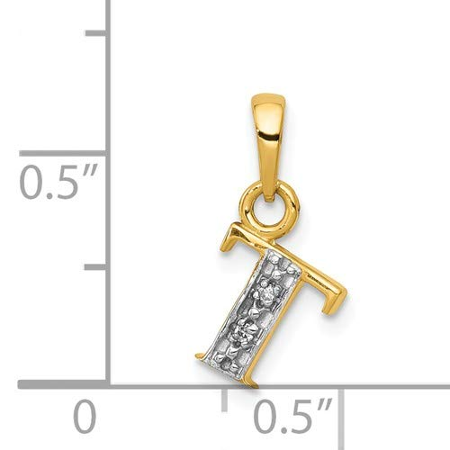 14K Yellow Gold And Rhodium Polished 0.01-carat Diamond Initial T Charm Pendant from Roy Rose Jewelry