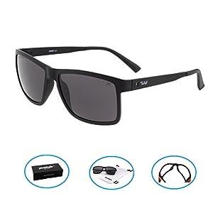 Tacloft Wayfarer Sunglasses 57mm HD Polarized Sunglasses TR004(Black Frame/Black Lens)
