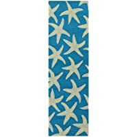 Starfish All Over Pattern Area Rug, Featuring Bright Nautical Design, Contemporary Stylish Fun Home Decor, Runner Indoor Outdoor Living Room Dining Bedroom Hallway Patio Carpet, Blue, Size 26 x 8