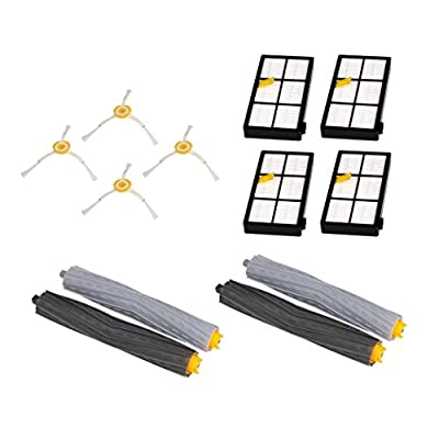 Keepfit Replacement Accessories Kit Vacuum Cleaner replacement parts with 4Hepa Filter, 4Side Brush, 2Tangle-Free Debris Extractor for iRobot Roomba 800/900 series 870 880 980 Vacuum Cleaning Robots