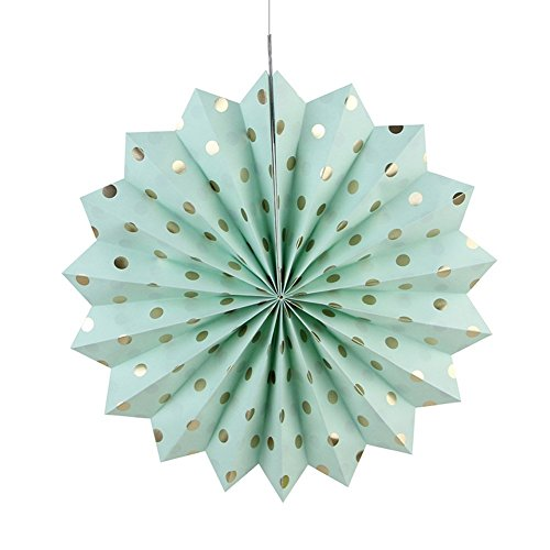 Low Cost Mint Gold Birthday Decorations Cream Polka Dot Paper Fan Tissue