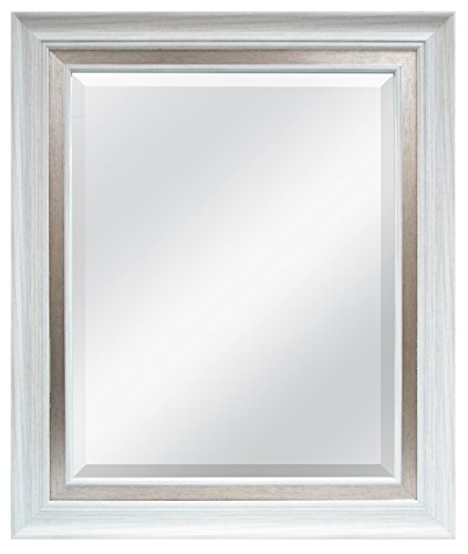 MCS 16x20 Inch Wall Mirror, 22x28 Inch Overall Size, White Woodgrain Finish