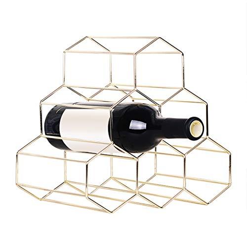 Nesee 6 Bottle Countertop Wine Rack - Metal Wine Bottle Holders Tabletop Decorative Wine Storage 6 Bottle Freestanding Space Saver for Bar Kitchen
