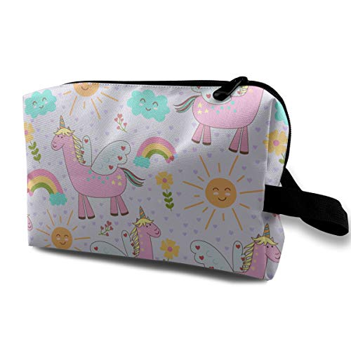 With Wristlet Cosmetic Bags Llama Pattern Travel Portable