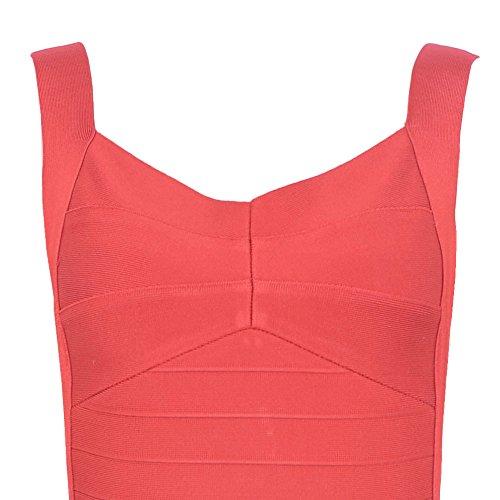 HLBandage Women's Sexy Spaghetti Strap Backless Bodycon Bandage Dress Coral