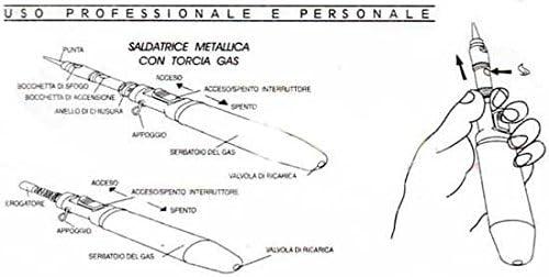 SALDATRICE METALLICA CON TORCIA GAS RICARICABILE PROFESSIONALE SALDATORE