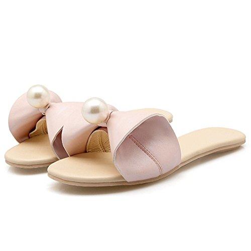 Femmes Pantoufle 6 Ete Plates TAOFFEN Sandales Pink pqxdEnw0