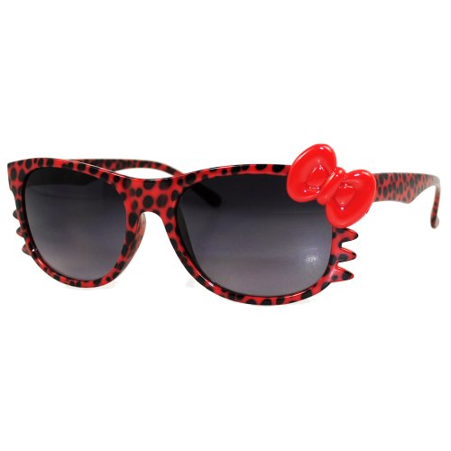 Hello Kitty Leopard Nerd Frame Sunglass w/ Bow and Whiskers ()