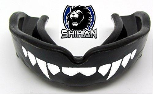 JUNIOR FANGS Mouthguards Gum Shield BLACK Sensei J Signature Gum Shield 'FANGS-TEETH - (Black), BJJ MMA, Rugby, Ufc Wrestling Mouth Guard by Shihan