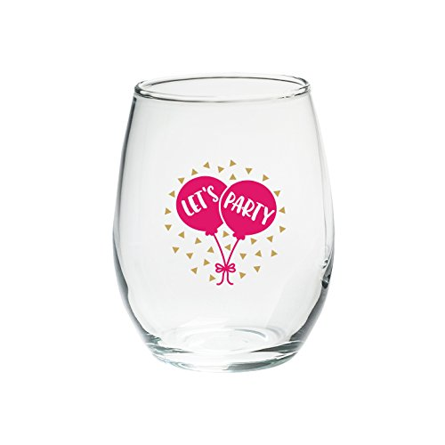 Kate Aspen 30023NA-LP Let's Party 15 oz. Stemless (Set of 4) Wine Glasses, Clear