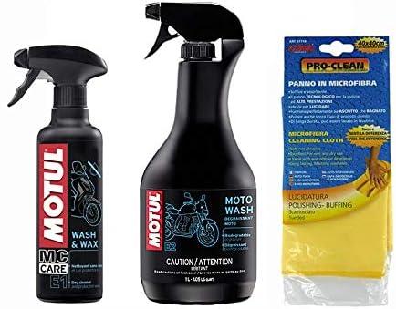 Kit Cleaning Motorcycle Scooter Motul E1 E2 Moto Wash Plus Pro Clean Microfibre Wash Wax Auto