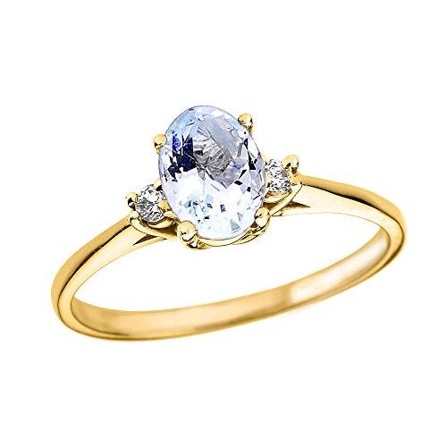 Bague Femme/ Bague De Fiançailles 10 Ct Or Jaune Ovale Aquamarine Et Diamant