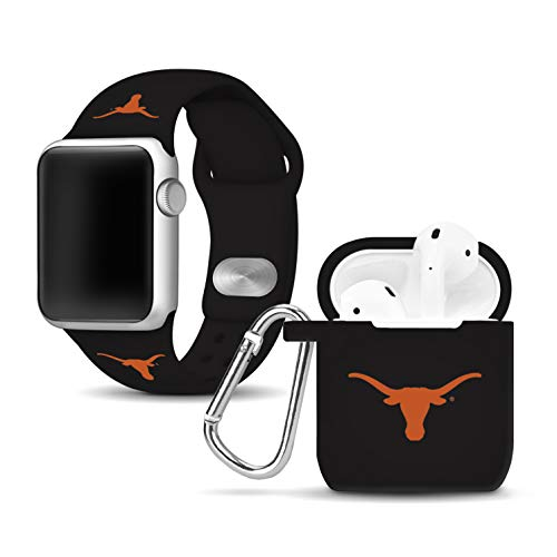 Affinity Bands Texas Longhorns Silicone Watch Band and Case Cover Combo Compatible with Apple Watch and AirPod Case (Best Of Texas Band)