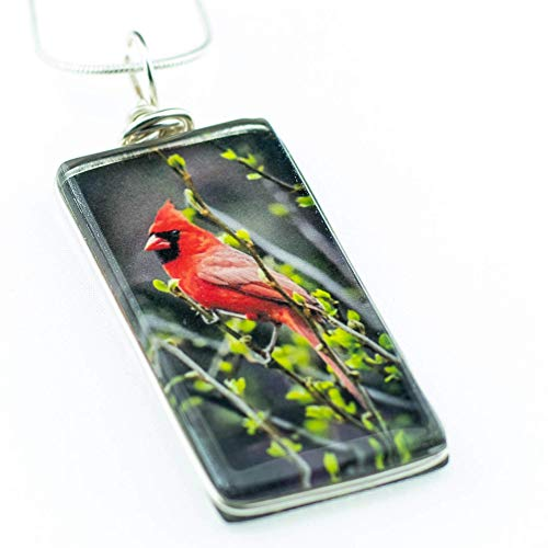 Dichroic Glass Pendant Jewelry - Cardinal Necklace - Handmade Glass Bird Jewelry Pendant on Sterling Silver Chain