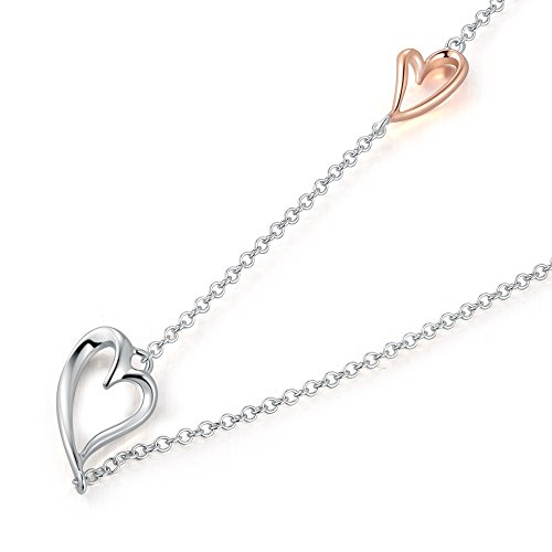 LR Accessory 9K Rose & White Gold Double Hearts Necklace (16'), Women Fashion Jewelry
