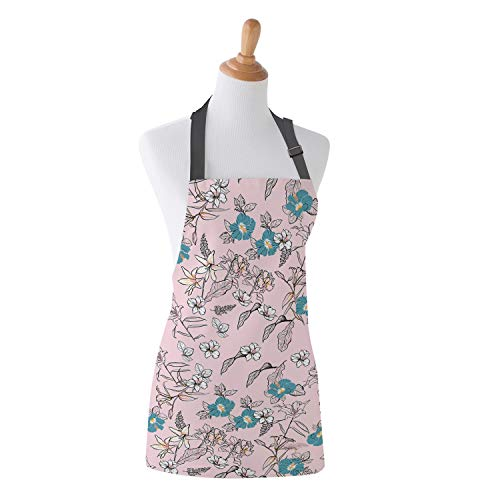 Apron Flanges Flower Art Illustrations Kitchen Bib Apron Ideal for Cooking Dishwashing Cleaning Painting -