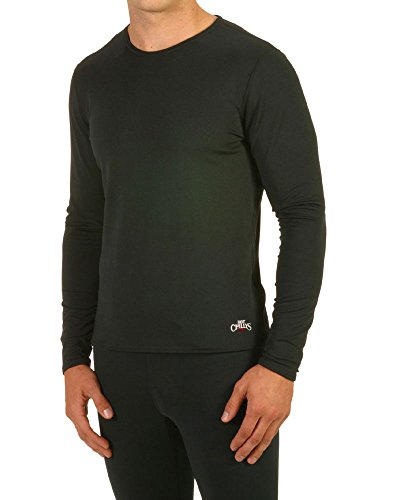 Hot Chillys Men's Micro-Elite Chamois Crewneck - Available in Can (Black, X-Large) (Micro Elite Chamois)